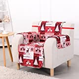 1 Piece Red White Plaid Chair Protector, Christmas Hunting Themed Furniture Protection Couch Cabin House Pattern Checked Tartan Pets Animals Covering Soft Lodging Buffalo Checkered Covers, Polyester