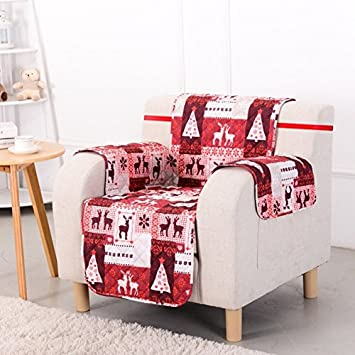 1 Piece Red White Plaid Chair Protector, Christmas Hunting Themed Furniture  Protection Couch Cabin House