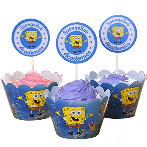 Betop House Set of 24 Pieces Spongebob Themed Party Kids Birthday Baby Shower Cake and Cupcake Decorative Topper Wrappers Kit Party -