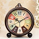 FirstDecor 5 inch Mulit-color Numbers European style Morning Clock Silent Quiet Non-ticking Retro Vintage Classic Bedside Alarm Clock, Battery Operated Travel Clock