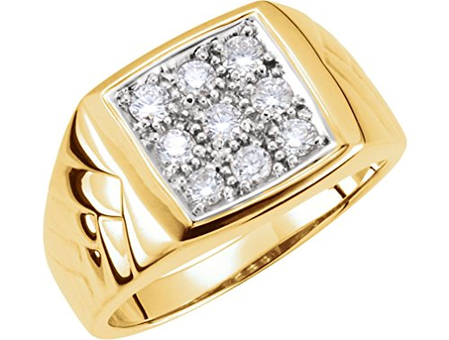 Men's 9-Stone Diamond 14k Yellow Gold Ring, 13.6MM, Size 11 by The Men's Jewelry Store