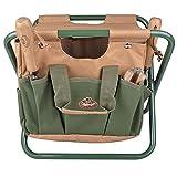 Esschert Design Canvas Tool Bag and Stool Carry-All, Tan/Green