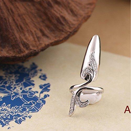 (LOHOME® Fingernails Ring, Sterling Silver Nail Art Charms Women's Retro Fashion Protecting Fingernail Nail Decoration Tip Nail Finger Ring Cute Nail)