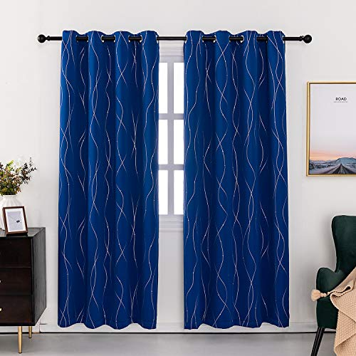 Anjee Eyelet Thermal Insulated Blackout Curtains and Drapes Wave Line with Dots Printed for bedroom living room Children's room Two Matching Tie Backs 46 x 72 inch Dark Blue