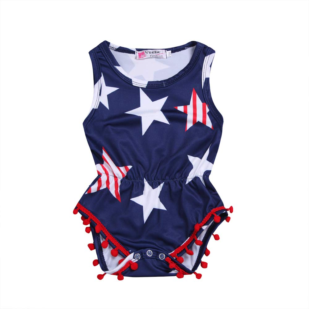 KOROTUS COLLECTION Baby Girl Romper Sleeveless Jumpsuit Outfit American Flag Stars Romper 0-24M