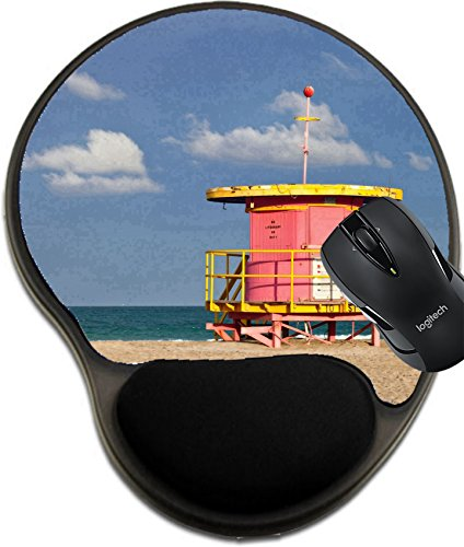 MSD Mousepad wrist protected Mouse Pads/Mat with wrist support design 19428528 Summer scene in Miami Beach Florida with a colorful lifeguard house in a typical Art Deco architecture with ocean - Beach Miami Scene