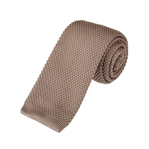 (Brown Skinny Knit Neckties For Men 2