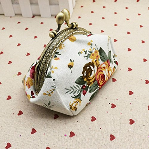Kimanli Small Women Retro Wallet Bag Purse White Hasp Vintage White Girls Clutch Flower Lady Ew8waq