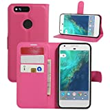Google Pixel Case, Fettion Premium PU Leather Wallet Phone Protective Case Flip Cover with Stand Card Holder for Google Pixel 5.0 Inch 2016 Smartphone (Wallet - Rose)