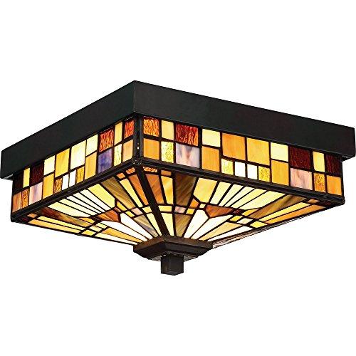 (Quoizel TFIK1611VA Inglenook Outdoor Tiffany Mission Flush Mount Ceiling Lighting, 2-Light, 120 Watts, Valiant Bronze (6