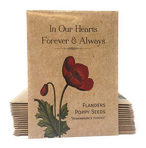 in Our Hearts Forever and AlwaysRemembrance Poppies - Individual Red Flanders Poppy Seed Packet Favors - Already Filled - Pack of 20