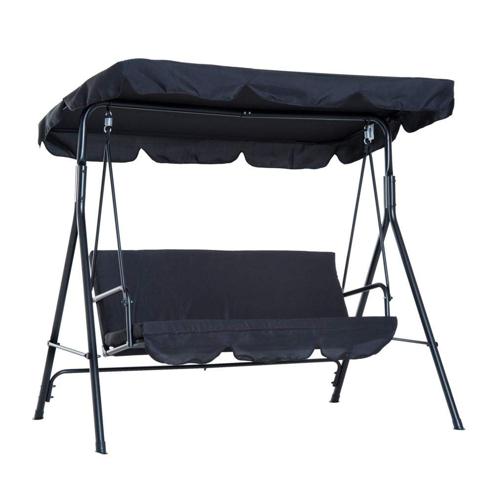 Nrkin - Columpio balancín para jardín con funda para asiento de patio, resistente al polvo, funda de repuesto para exterior, 3 sillones, color negro, verde y marrón: Amazon.es: Hogar