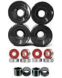 Everland Longboard Skateboard Cruiser Wheels 60x44mm w/ Bearings & Spacers (Clear Black)