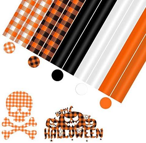 YRYM Halloween Buffalo Plaid HTV Iron on Vinyl, 10 Sheets 12″×10″Fall Orange Buffalo Check Heat Transfer Vinyl – 5 Colors Suitable for Halloween Ornament