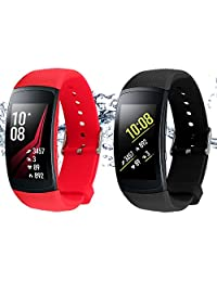 """Bands for Samsung Gear Fit 2 Band/Gear Fit 2 Pro[2-Pack: Black+Red], Rukoy Replacement Straps Accessories for Samsung Gear Fit2 Pro SM-R365/Gear Fit2 SM-R360 Smartwatch (5.9""""-7.5"""")"""