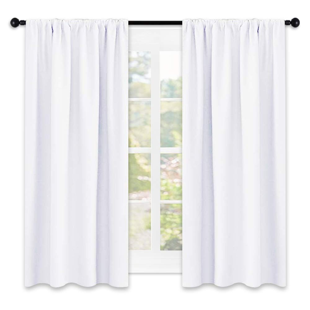NICETOWN 50% Light Blocking Window Curtain Panels, Rod Pocket Curtain Sets for Bedroom (White,2 Panels,42 by 45)