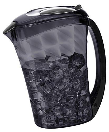 (Plastic Diamond Pitcher, Cold Water Juice Iced Tea Beverage Jug, 81 fl oz (BLACK))