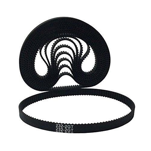 BEMONOC GT2 Driver Belt L=232mm W=6mm 116 Teeth in Closed Loop 2GT Rubber Conveyor Belts Pack of 10pcs
