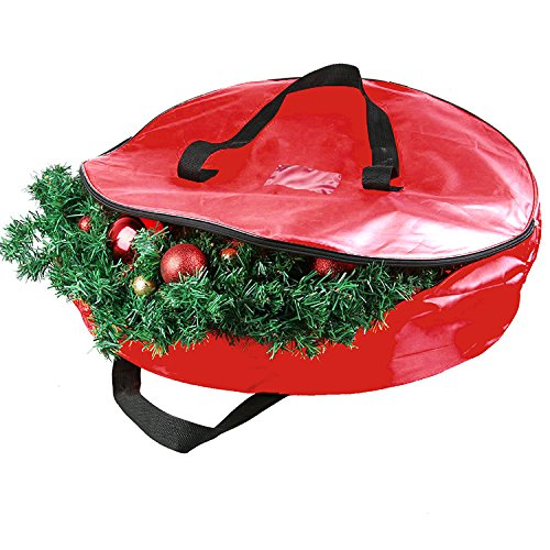 Christmas Wreath Storage Bag Wreath Storage Container Holiday Garland or Xmas Wreath Container with Handle Heavy Duty Xmas Bag for Easy Storage 29x29x3'' (Wreaths Xmas)