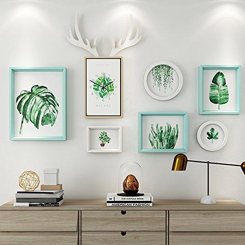 Das Wohnzimmer dekorativen Wandmalereien im Restaurant ist eine Kombination aus 6 Box + Hirschkopf Uhren blau und weiß Mash-ups