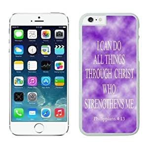 Iphone 6 Case, Philippians 413 Religious Bible Verse Inspirational Snap-On Black Jesus Christ Iphone 6 (4.7-inch) Cases White Cover