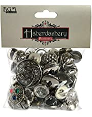 Buttons Galore Haberdashery Vintage Style Buttons, 3.5-Ounce, Silver