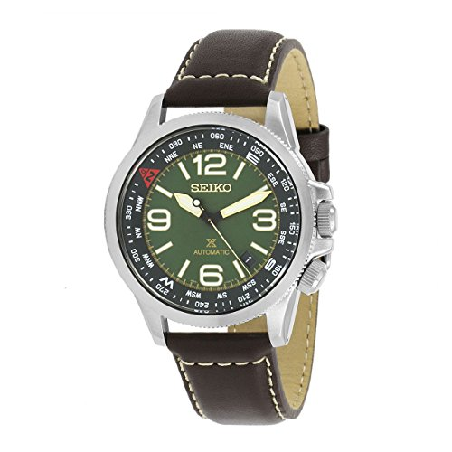 42mm Brown Leather Band Steel Case Hardlex Crystal Automatic Green Dial Watch SRPA77 ()