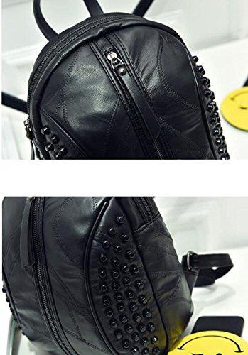 Moda Cosido Remache En Forma De Concha De Viaje Mochila Black