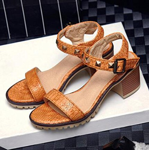 Easemax Womens Rivetti Alla Moda Cinturini Alla Caviglia Con Cinturino Alla Caviglia E Sandali Open Toe Gialli