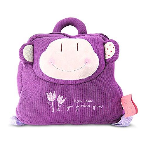 Belk Pillow Soft Stuffed Pre School Lunch Bag Travel Backpack Toy Bag  Purple Monkey
