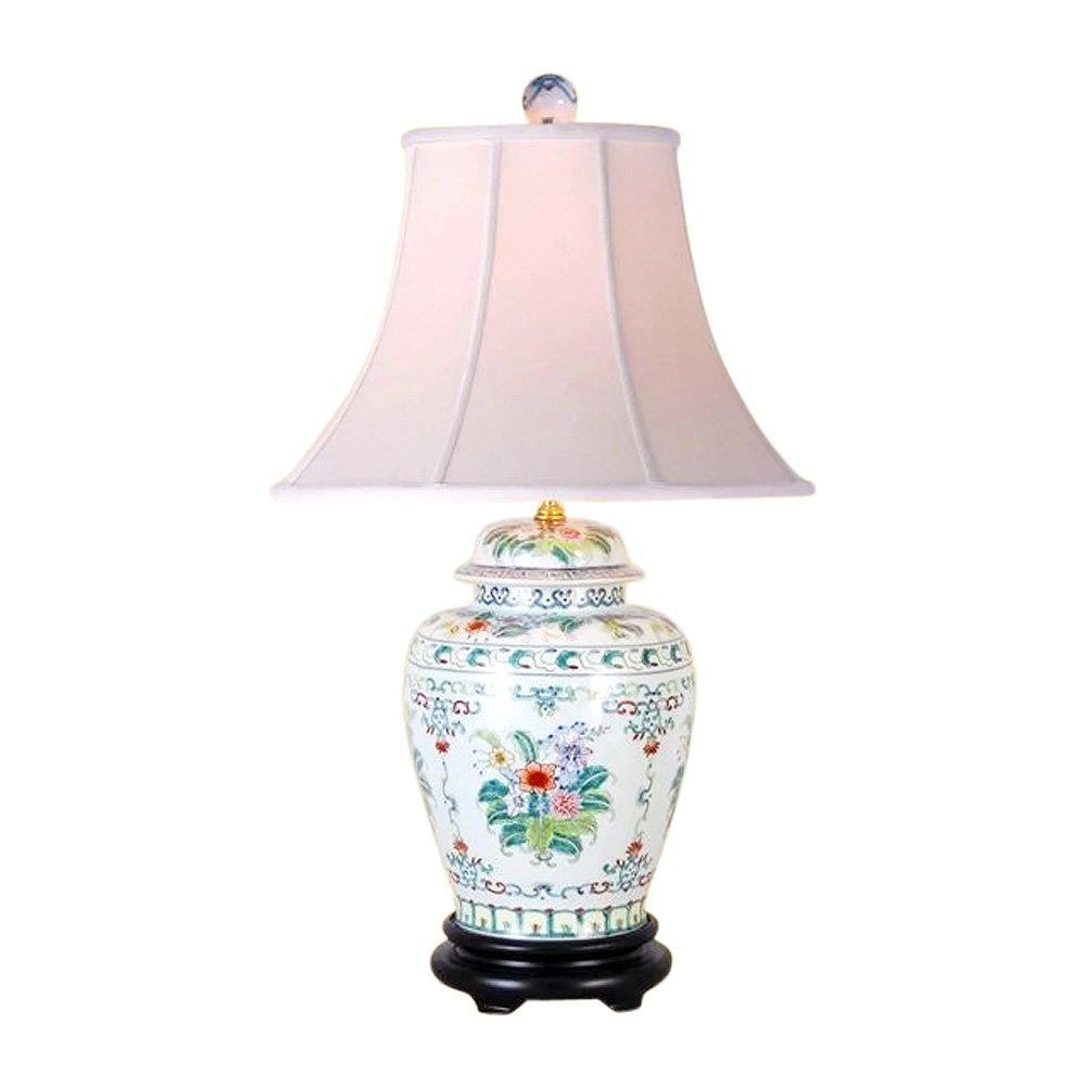 Chinese Porcelain Floral Motif Temple Jar Table Lamp 26''