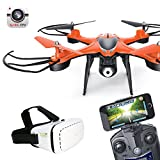 Cewaal WiFi FPV Drone with HD Camera Live Video + VR Glasses,LED Lights Headless Mode 3D Tumbling RC Quadcopter For Beginners