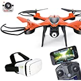Jiayuane TT911 WiFi FPV Live Transmission Drone with VR Glasses,High and Low Speed Switch 3D Tumbling LED Lights Headless Mode Drone for Kids