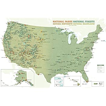 Amazoncom NPS X USFS X BLM X FWS Interagency Map X Poster - Us map of national parks and monuments