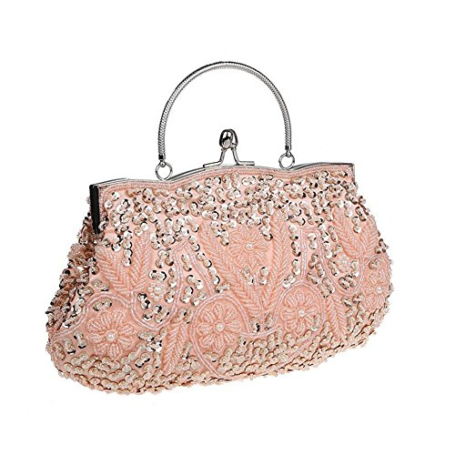 Antique Collection Rose Floral (Bopstyle Womens Floral Beaded Top Handel Evening Party Frame Clutch Purse Wallet Handbag (Champagne))