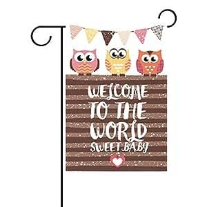 yzgo hogar poliéster tela jardín banderas, Welcome búho patrón bebé ducha Lovely resistente al moho Custom impermeable banderas