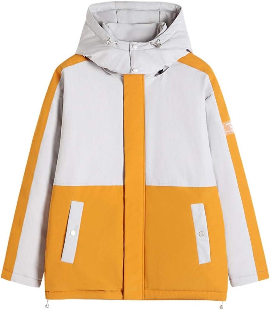ジャケット メンズダウンコート、新しいツーリングスタイルショートダウンジャケット、コントラストステッチ、取り外し可能なフード付きホワイトダウンコットンジャケットダック (Color : Yellow, Size : XXXXL)