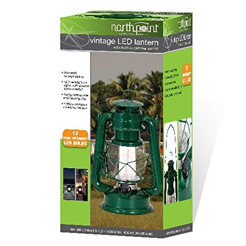 (Northpoint Vintage Style Green Hurricane Lantern with 12 LED's and 150 Lumen Light Output and Dimmer switch, Battery Operated Hanging Lantern for Indoors and Outdoor Usage )