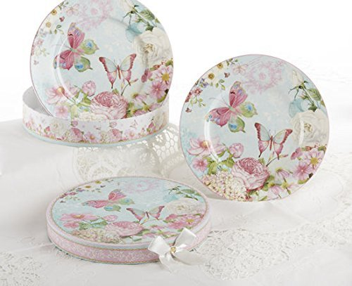 Delton Products Butterfly Porcelain Luncheon/Dessert Plates in Gift Box (Set of 2), 8