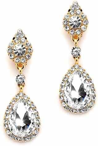 906d41e3b Mariell Gold Teardrop Austrian Crystal Dangle Chandelier Earrings for Bridal,  Prom, Pageant & Weddings