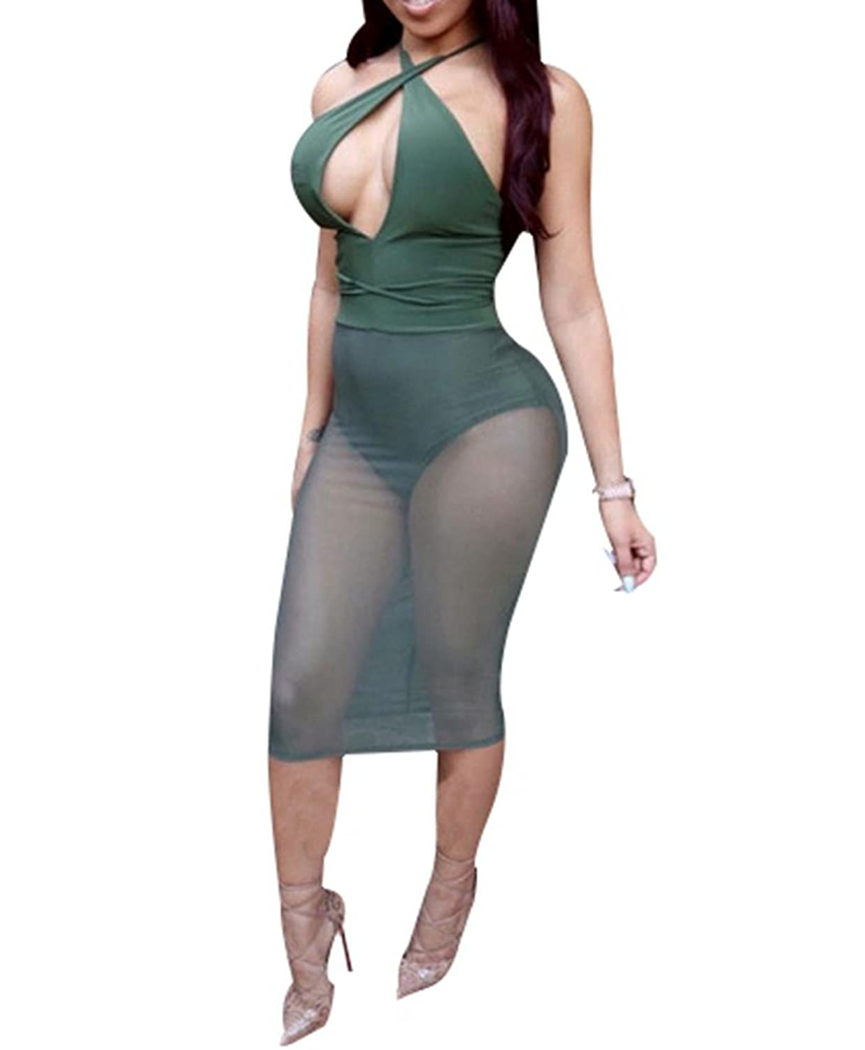 Womens Sexy Bandage Cut out Sleeveless Sheer Mesh See Through Bodycon Midi Dress