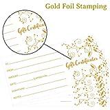 Gold Foil Gift Certificates 25pcs Blank Gift