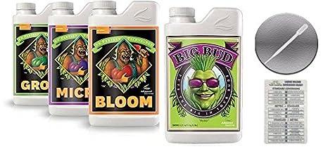 Advanced Nutrients Bloom, Grow, Micro 500mL & Big Bud Liquid Fertilizer  250mL Bundle w/ Conversion Chart & 3mL Pipette