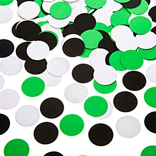 (Glitter Paper Confetti Circle Dots for Table Wedding Birthday Party Decoration, 1.2 inch in Diameter (black,green,white,200pc))