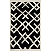 Safavieh Dhurries Collection DHU552L Hand Woven Black and Ivory Premium Wool Area Rug (3 x 5)