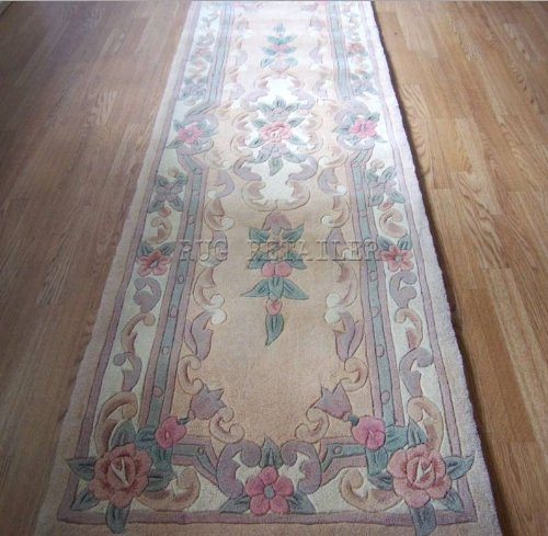 Chinese Wool Rugs In Beige Handmade Traditional Aubusson Design - Hallway Runner 65x210cm