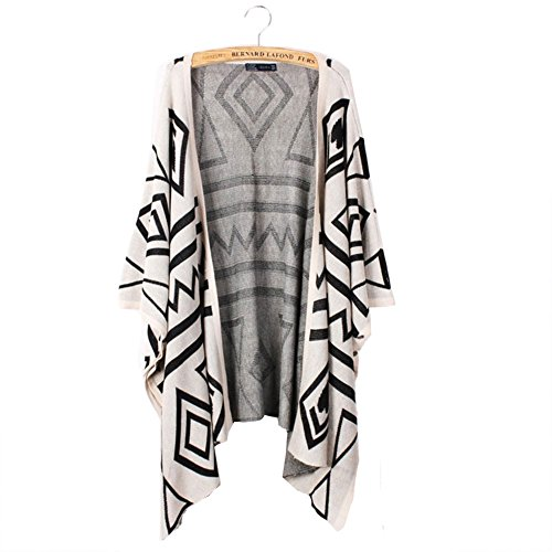 Bestmaple Women's Cotton Seal Plus Size Seed Stitch Aztec Cardigan Shawl Sweater(Beige)
