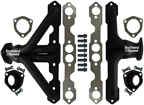 NEW SOUTHWEST SPEED 55-57 CHEVY FLAT BLACK SHORTY HEADERS FOR SMALL BLOCK CHEVY ENGINES, 262 265 283 302 327 350 400 V-8, 1955 1956 1957 TRI-5 CHEVROLET BEL AIR 150 210 NOMAD DEL RAY ()