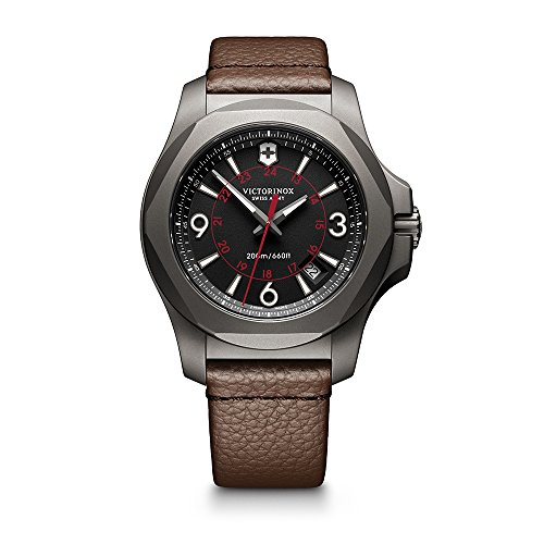 Victorinox Swiss Army Men's 'I.N.O.X.' Swiss Quartz Titanium and Leather Casual Watch, Color:Brown (Model: 241778)