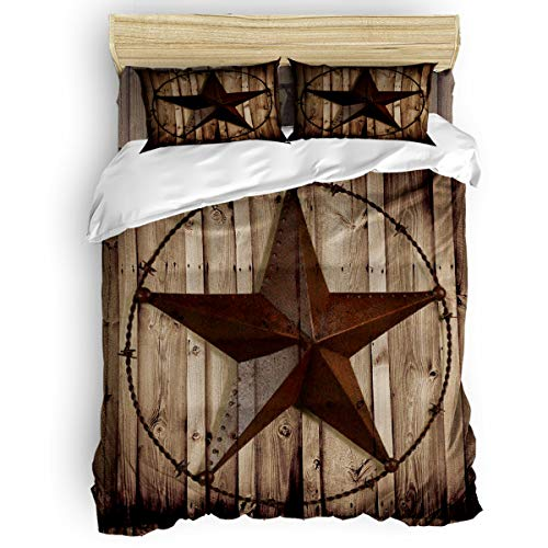 Picpeak Home Bedding Set 4 Piece Duvet Cover Set Queen Size Western Texas Star Rustic Wood Grain Lightweight Soft Bed Sheets,1 Duvet Cover,1 Flat Sheet and 2 Pillow Covers for Children/Adults/Teen
